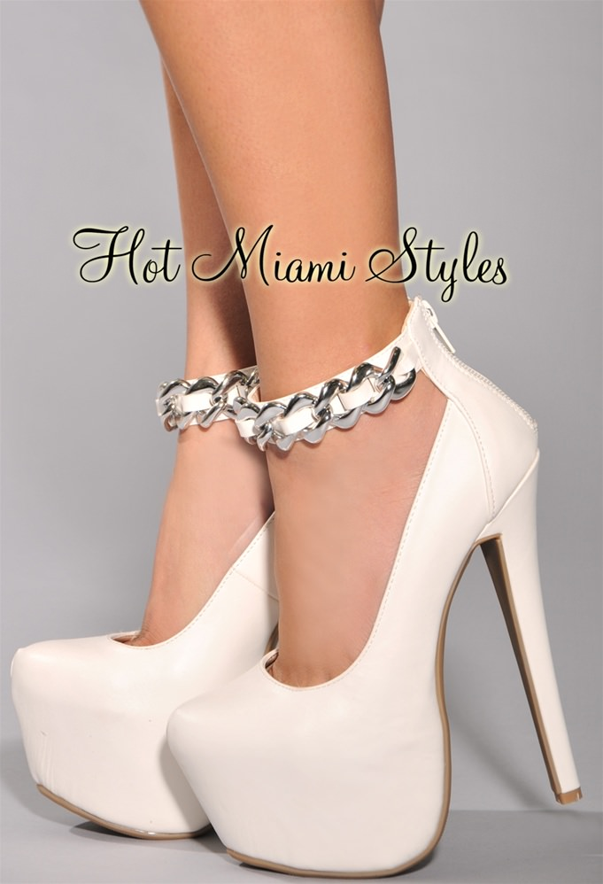 White High Heels With Strap HJ2Eiayh