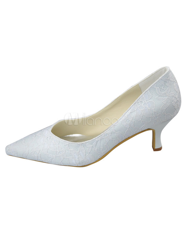 White Kitten Heel Pumps oCskuiIS