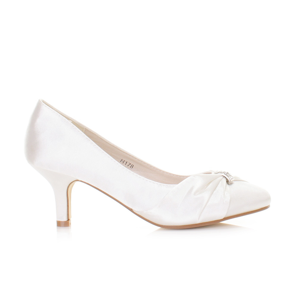 White Kitten Heel Wedding Shoes Z013pXXT
