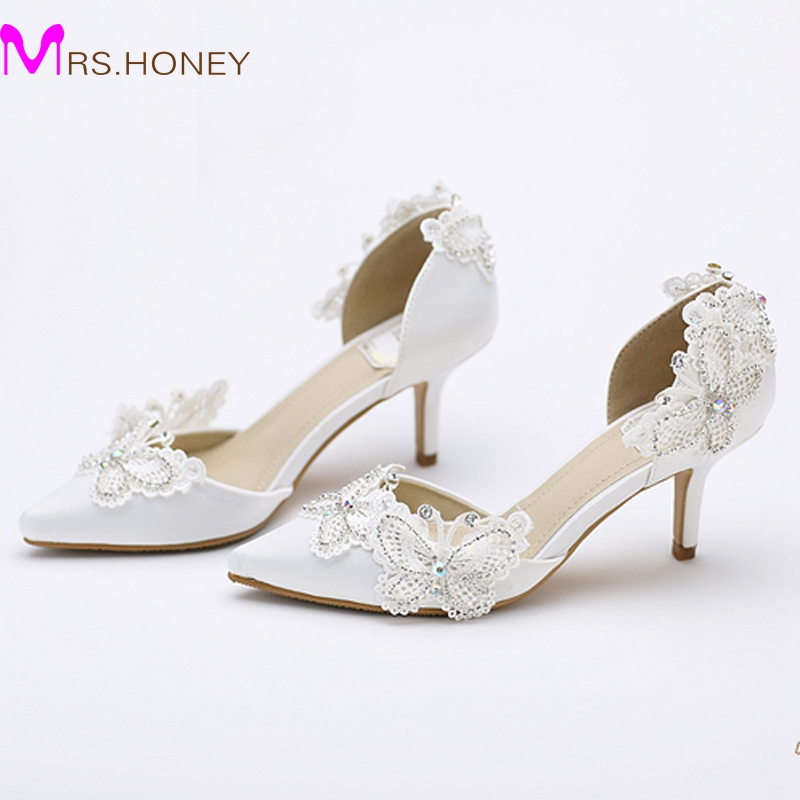 White Kitten Heel Wedding Shoes SyT9Ufrr