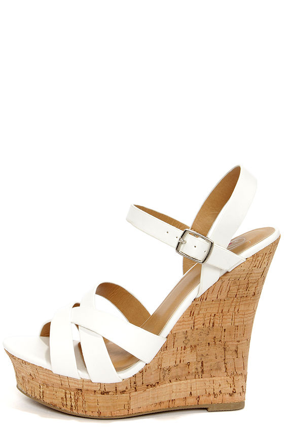 White Wedge Heel Sandals dBdIadbF