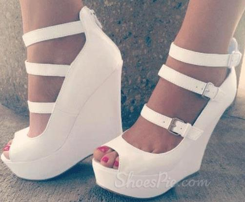 White Wedge Heels With Ankle Strap qgusdM7h