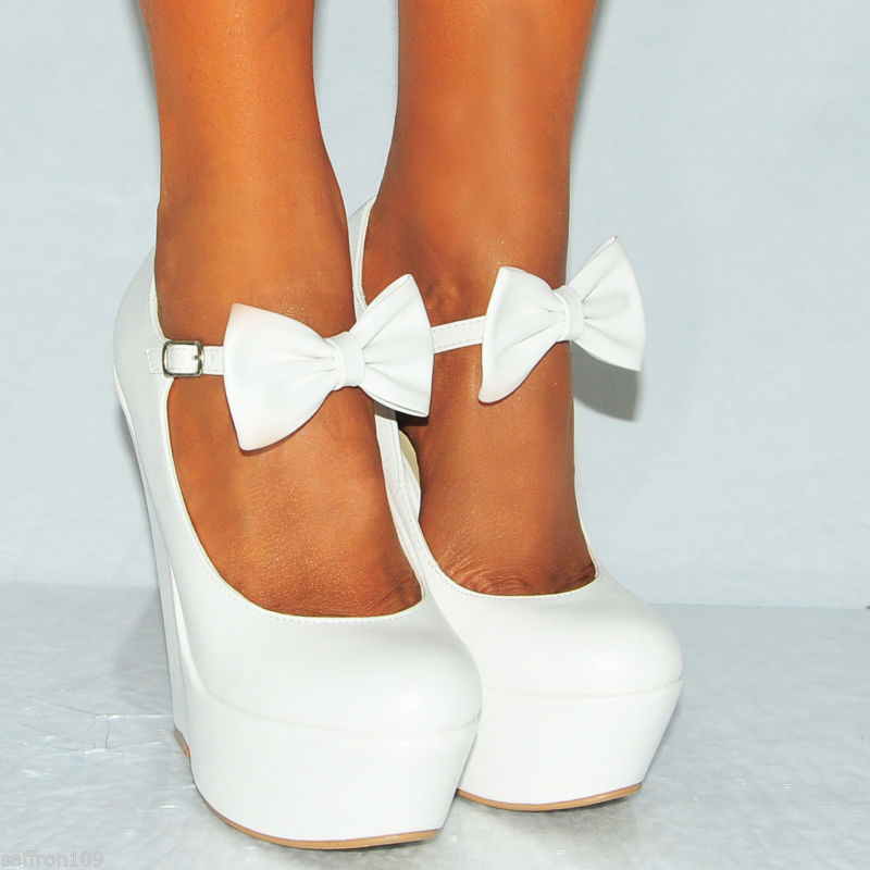 White Wedge Heels With Ankle Strap aLme2fip