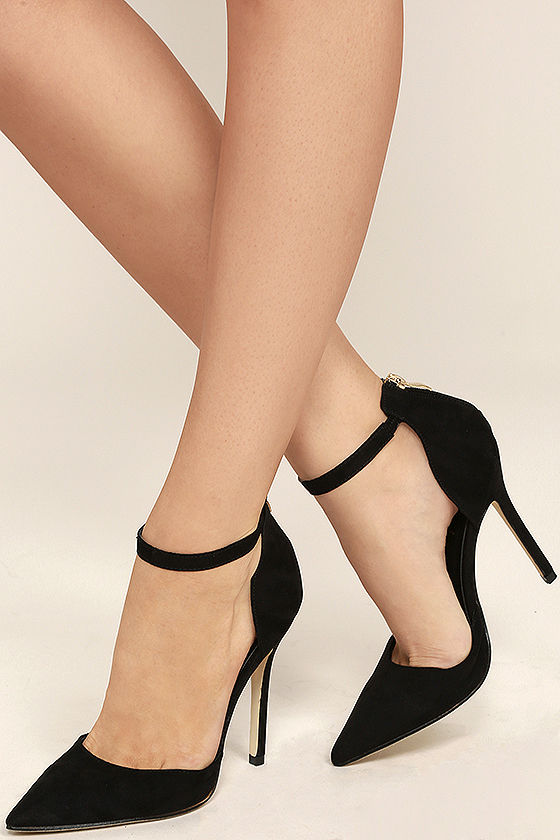 Womens Black Ankle Strap Heels AtoXBwG3