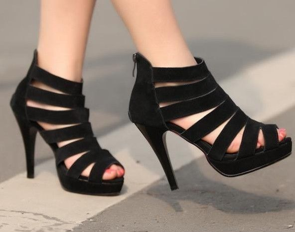 Womens Black Strappy Heels vtj0XK6B