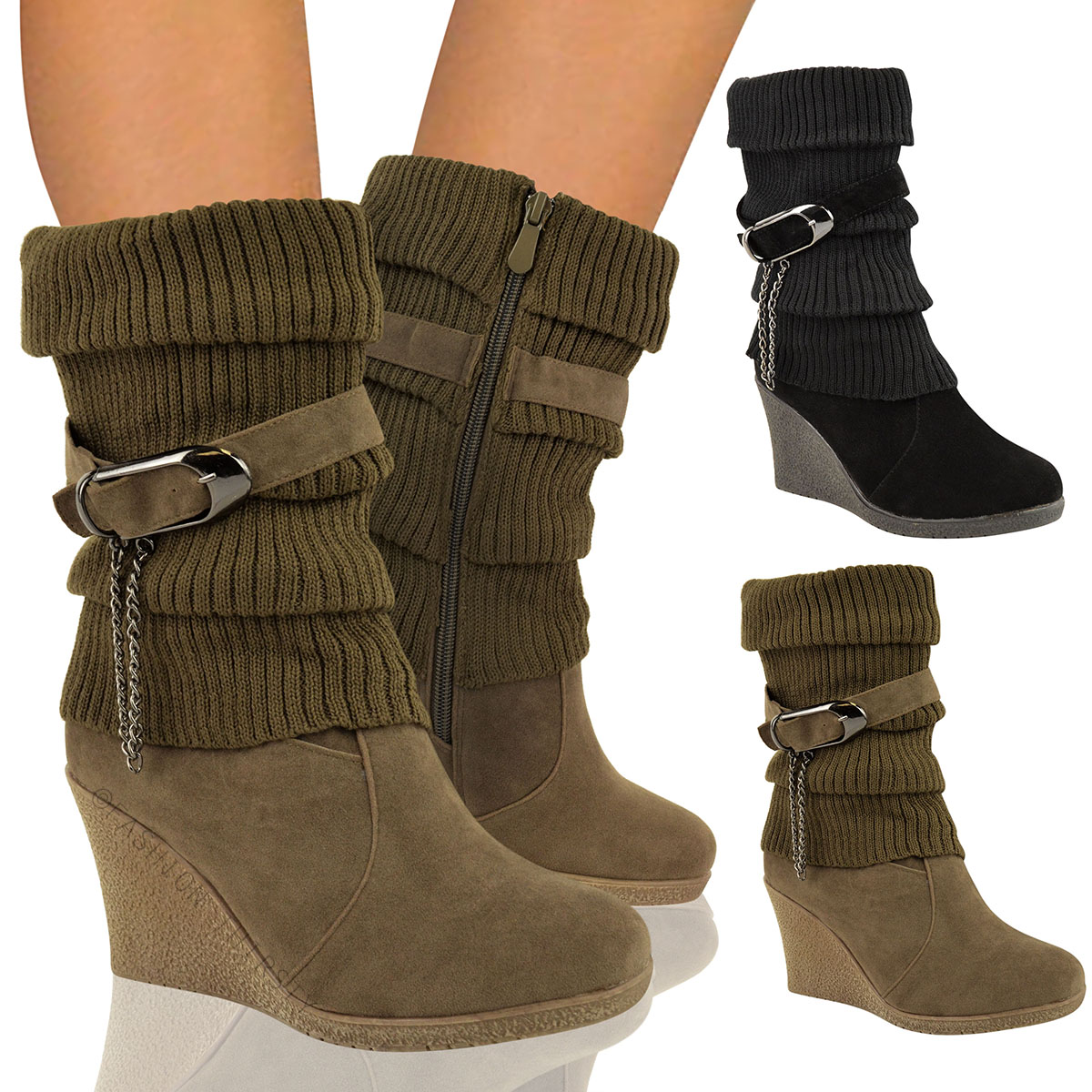Womens Wedge Heel Boots S7LT4Hun