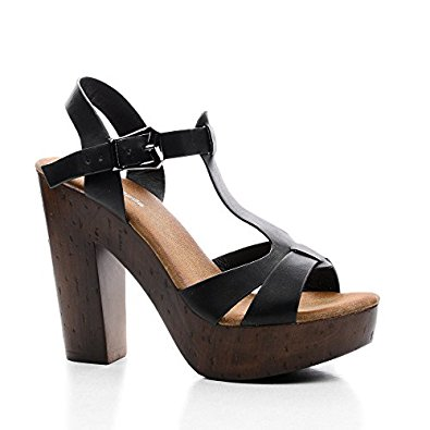 Wooden Chunky Heels 4Mbsesqp