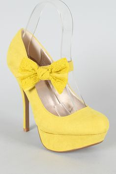 Yellow Heels With Bow 2Yew3G9U
