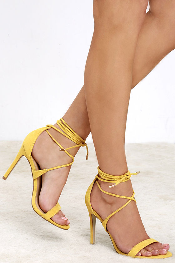Yellow Lace Up Heels cjGvpzYe