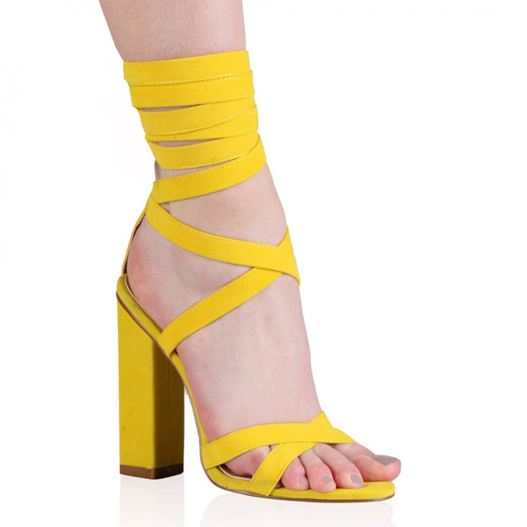 Yellow Lace Up Heels le46NW7F