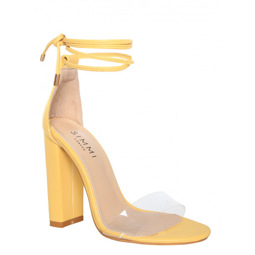 Yellow Lace Up Heels mwVNW4xD