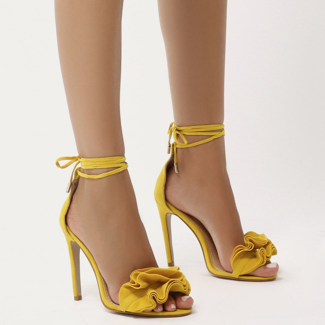 Yellow Lace Up Heels ollfBXhr