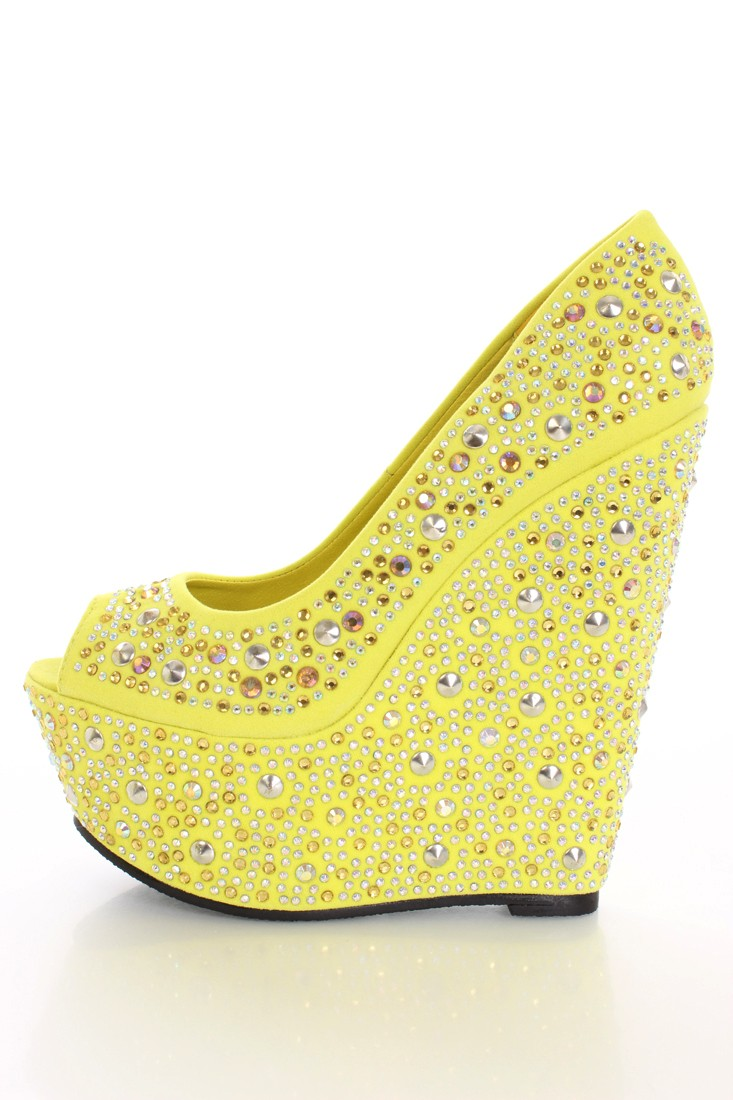 Yellow Wedge Heels 12d40mXf