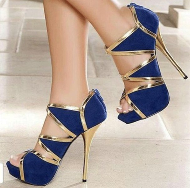 Gold And Blue Heels