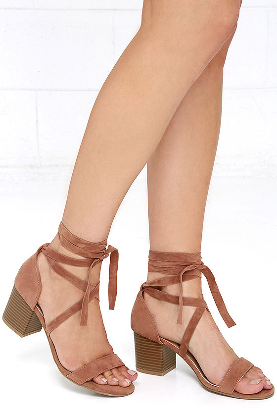 Tan Lace Up Heels